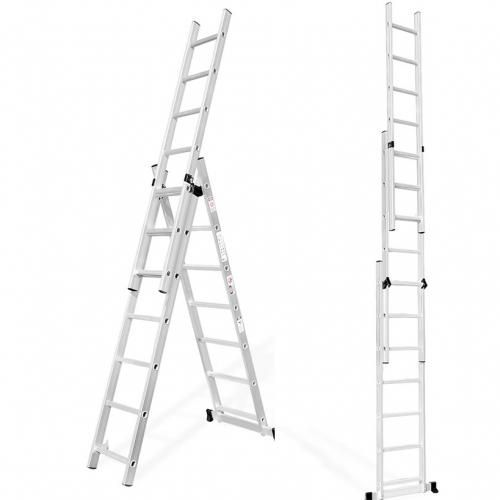 3 Section Aluminium Extension Step Ladder With Integral Stabilizer