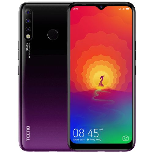 "Spark 4 (KC8) 6.52"" HD+ 2GB RAM + 32GB ROM, 13MP Triple AI Camera, Android 9, 4G, 4000mAh, Fingerprint & Face ID- Purple"