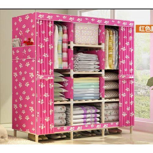 Wooden Mobile Wardrobe (3 Columns Multi Compartments) L130cm, B45cm, H170cm
