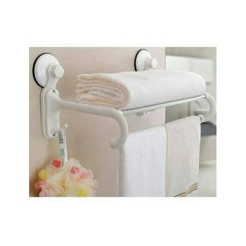 Bathroom Double Rail Towel Rack With Suction Cups - White