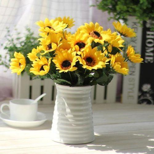 Fake Silk Artificial 14 Heads Sunflower Flower Bouquet Floral Garden Home Decor