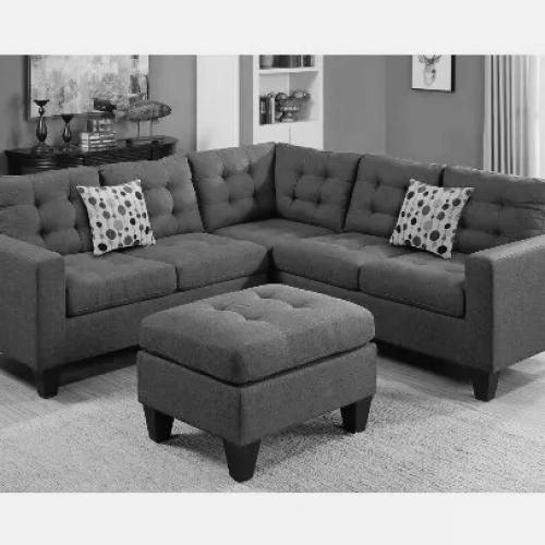 Corner Sofa (Grey) With Free Ottoman(DELIVERY ONLY IN LAGOS)