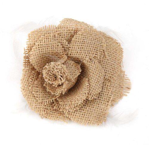 1Pcs Handmade Knitting Flower Jute Burlap Craft Party Decoration 10cm