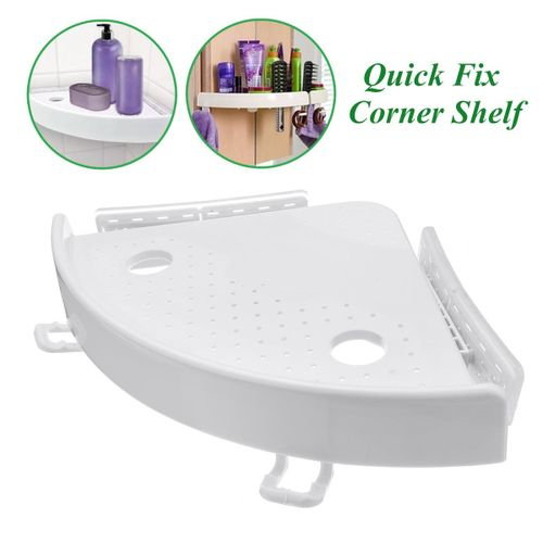 Quick Fix Corner Snap Shelf Grip Up Stable Easy Wall Bathroom Kitchen Accessary - White
