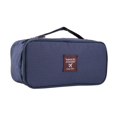 UJ Portable Protect Bra Underwear Lingerie Case Travel Organizer Bag Waterproof Navy Blue