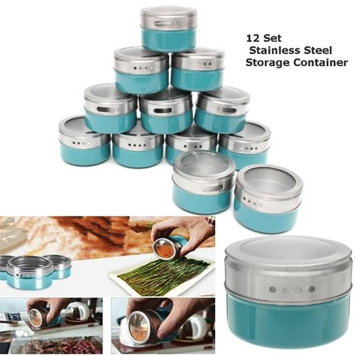 12 X Magnetic Spice Tins Stainless Steel Storage Container Jars With Clear Lid