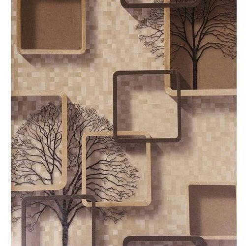 3D PVC Wall Paper Brown Square Effect