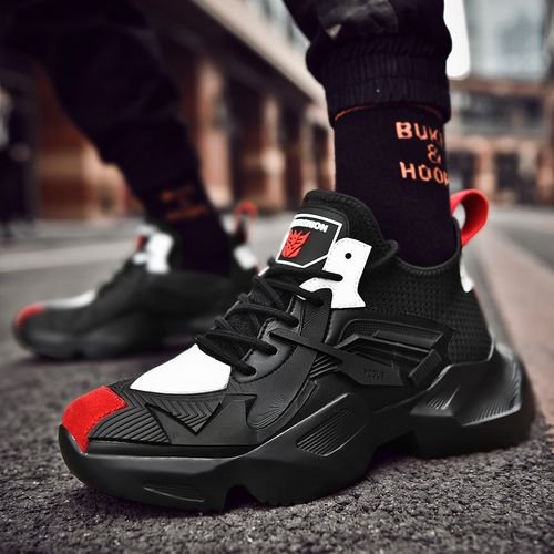 Men's Breathable Sports Shoes Thick Basketball Shoes -Black