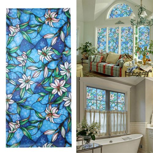 3D Window Decor Orchid Flower Stained Glass Window Film Sticker DIY Home Decor