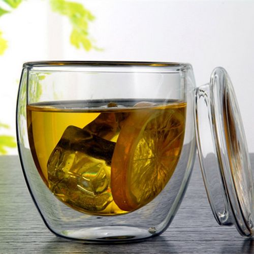 Transparent Glass Coffee Cup Insulated Milk Bamboo Cover