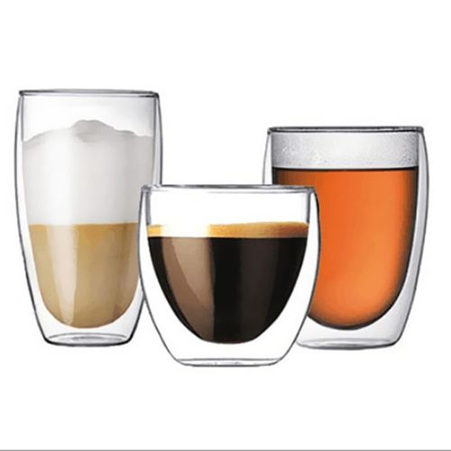 Double Layer Glass Cup 250 - 450 Ml - Transparent