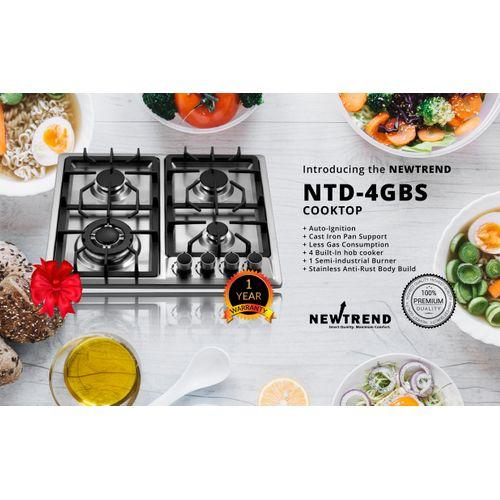 NTD-4GBS 4 Burner Built-in Hob Stainless Cooker/cooktop (1 Semi-industrial Burners)