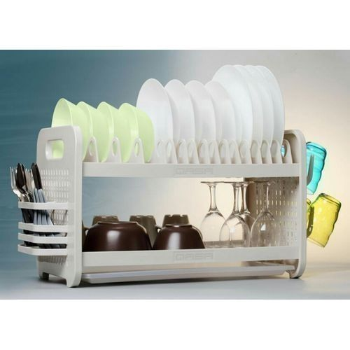 New Rustless 2 Tier Plastic Dish Drainer And Plate Ravk