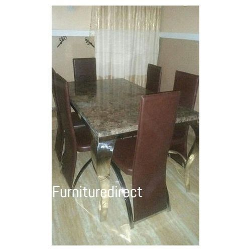 Marble Rolim Dinning Set Furniture + 6 Dining Chairs