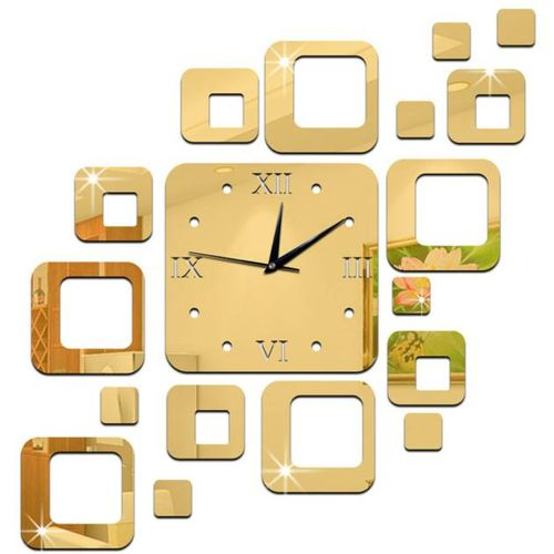 Square Mirror Gold Silver Acrylic Wall Clock Splice Modern Design 3D Large Decorative Wall Watch Gift Wall Sticker 1O24(Chocolate)