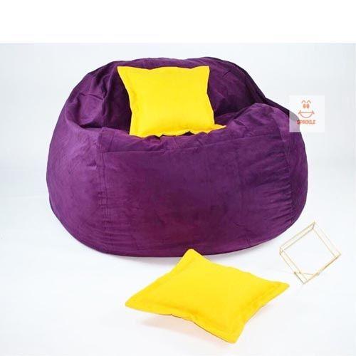Spikkle Giant Bean Bag Chair & 2 Pillows - Purple