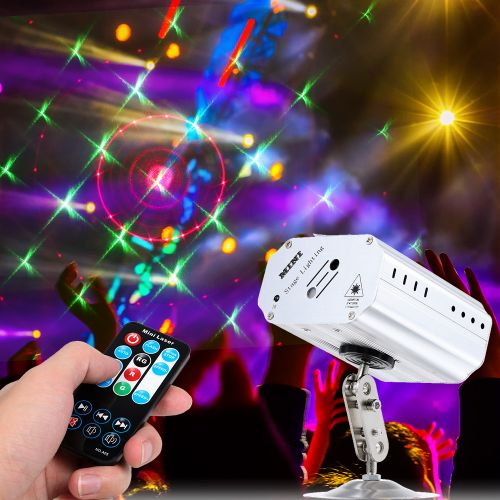 Sound-activated/ Auto-run/ LED Laser Projector Stage Disco Light 1W Mini Stage Lamp Lighting Fixture For DJ Show KTV Bar Party WOEDB