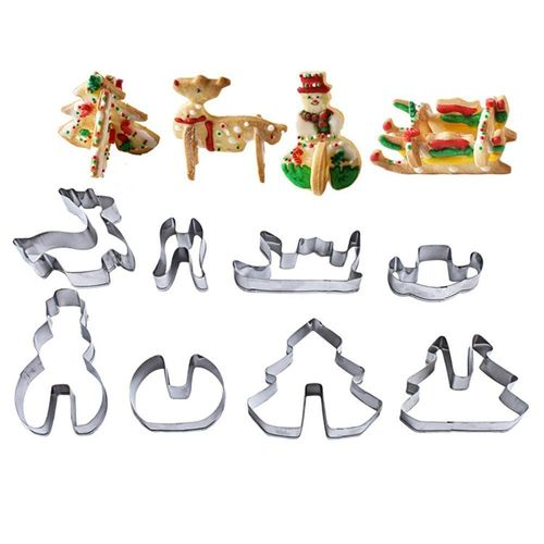 Stainless Steel Christmas Cookie Mold Cutters Biscuit Cutters Cake Chocolate Candy Mold DIY Baking Tool