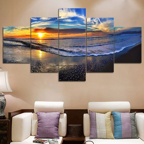 5 Panels Beach Canvas Print Surf Ocean Wave Painting Art Wall Picture No Frame