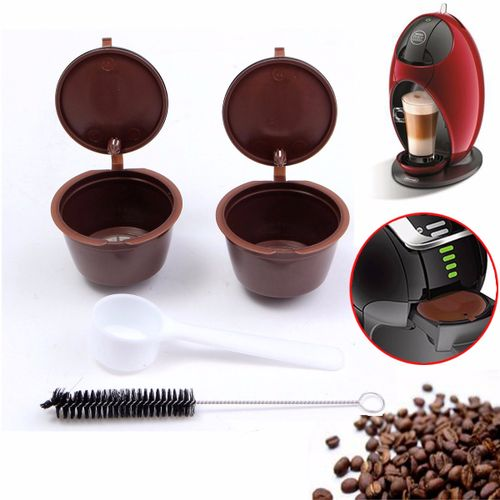 Reusable Coffee Capsule Cup+Plastic Spoon+Cleaning Brush For Dolce Gusto Refill
