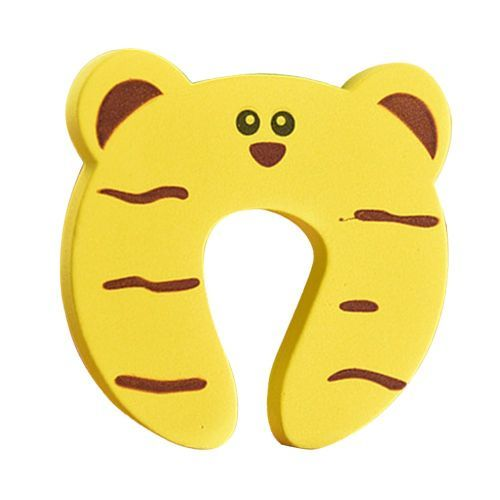 Baby Safety Gate Card Cute Animal Security Door Stopper Child Finger Protector Yellow Tiger