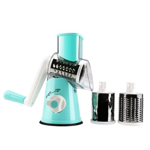 Vegetable Slicer Cheese Grater Rotary Rotary Drum Grater 3-Blades Manual Vegetable Mandoline Chopper With Suction Cup(Blue)