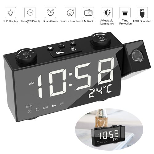 6 Inch Digital FM Projection Radio Alarm Clock 4 Brightness