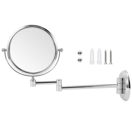 Household Bathroom Copper Makeup Mirror Wall-Mounted Double-Sided Folding Cosmetic Vanity Mirror
