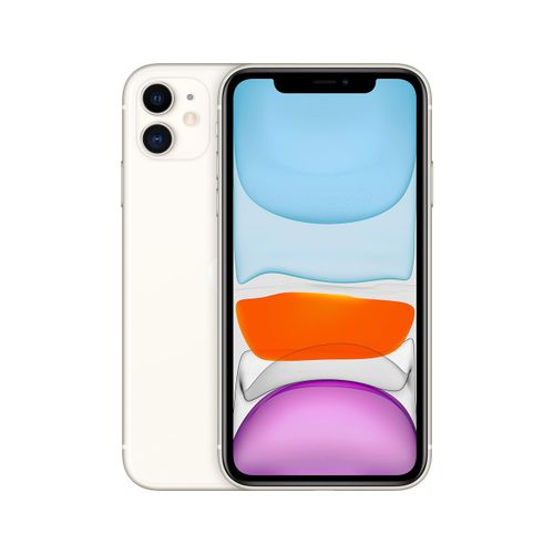 IPhone 11 6.1-Inch Liquid Retina LCD (4GB RAM, 64GB ROM) IOS 13, (12MP+12MP)+12MP 4G LTE Smartphone-Dual Sim- White