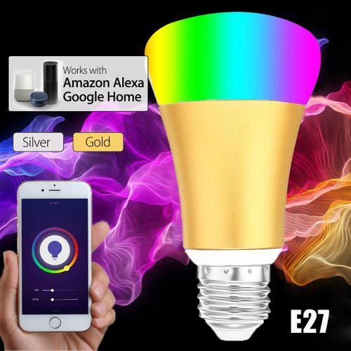7W E27 Wireless WiFi RC Smart Bulb Lamp Light RGB+W For Echo Alexa Google Home Gold