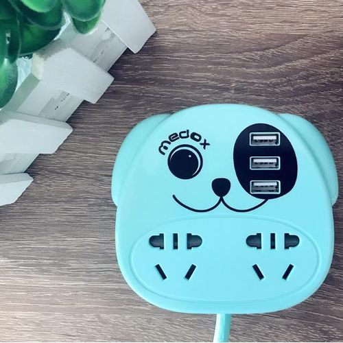 Medox USB Charger Socket 10A/240V Dog Shape Patch Board Protection Shock Patch Board 1.8m Cable