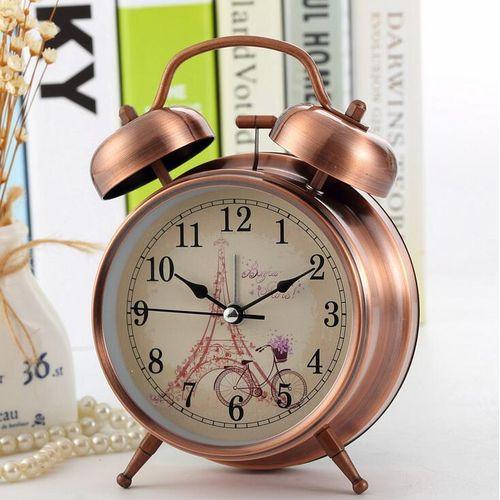 Night Light Classic Metal Double Bell Desk Alarm Clock Quartz Movement Bedside