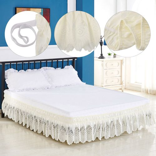 Jeffergarden Draped Elastic Decorative Lace Bed Skirt With Ruffle Dust Easy Fit Cache-Cache