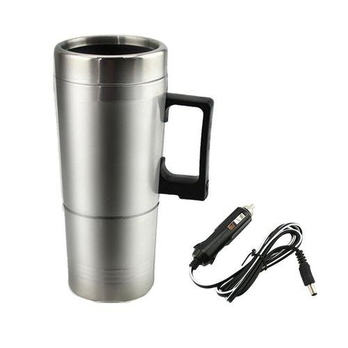 12V Car Heating Cup Heated Mug 450ml Stainless Steel Electric Coffee