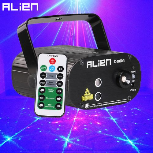 ALIEN Remote Mini Red Green 48 Patterns Stage Laser Projector Lighting Effect For Party Christmas Holiday Disco DJ With Blue LED ASQOB