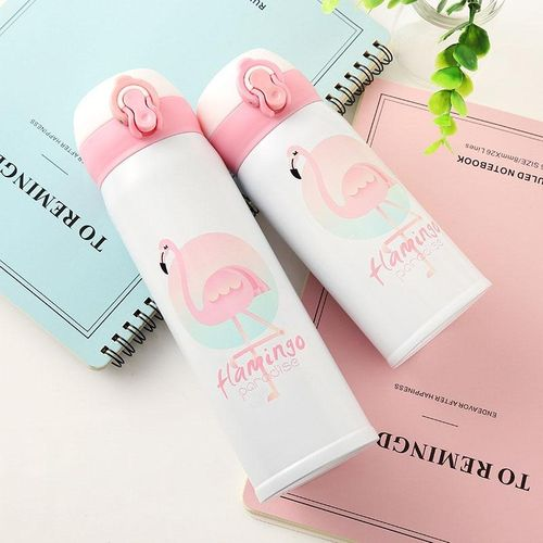 Flamingo Pattern Bouncing Vacuum Flask Mug Travel Stainless Steel Thermos Cup, Capacity:500ml(Flamingo)