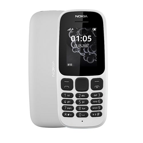 "105 - Dual Sim, 1.8"" FM RADIO Basic Phone - White"