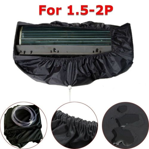 Black Air Conditioner Dust Washing Waterproof Cover Clean Protector For 1.5P- 2P