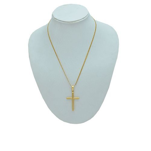 Cross Gold Pendant On Cuban Gold Chain Jewelry
