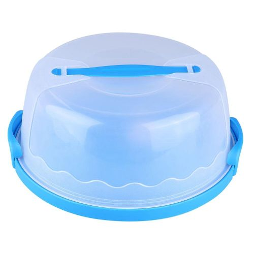 Pasamer Portable Round Clear Cake Carrier Storage Container Server Latch Cover Handle 10 Inch Bluewith Locking Lid And Handle