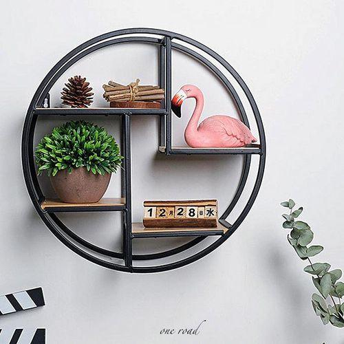 Wall Unit Retro Wood Industrial Style Metal Shelf Storage Black