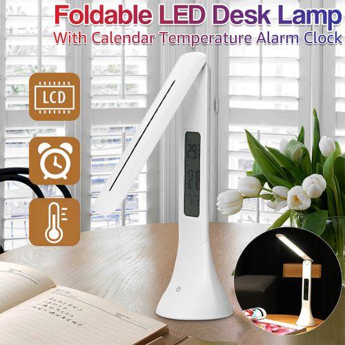 LED Desk Lamp Light Foldable Dimmable Touch Table Clock Calendar Temperature Set