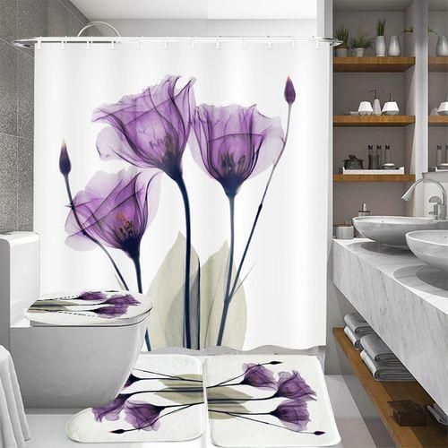 4 Pcs Shower Curtain Toilet Cover Bath Mat Anti-Slip Rug Sets Flower