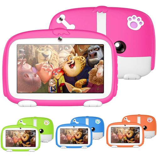 """7"""" Portable HD Kids Tablet, Children Learning Pad With Kid-Proof Silicone Case"""