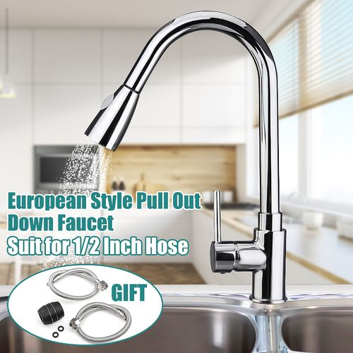 Kitchen Mixer Tap Sink Steel Pull Out Spray Faucet