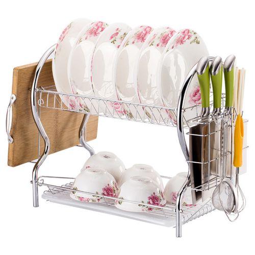 2 Layer Dish Drainer Rack Dish Dryer Tray Rack