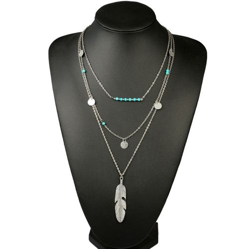 Women Beads Sequins Multi Layer Chain Necklace - Silver