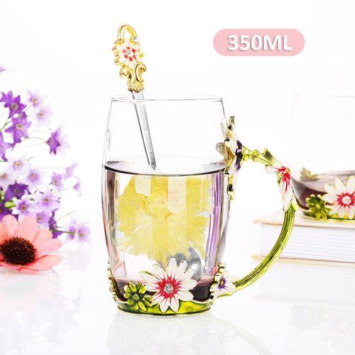 Green Chrysanthemum Enamel Craft Water Cup Drink Mug With