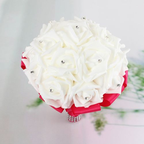 Artificial Foam Rose Flower Bouquet Crystal Wedding Bride Silk Home