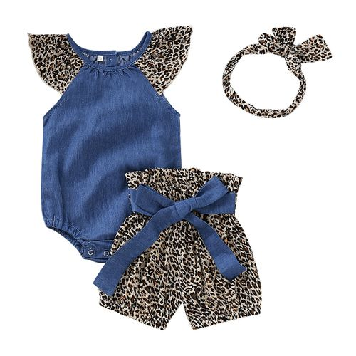 Baby Girls Clothes Romper Tops+Shorts+Headband Outfits Sets